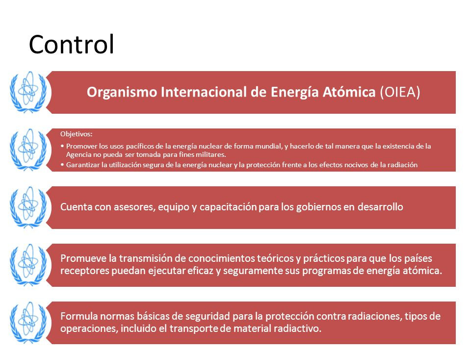 Control Organismo Internacional de Energía Atómica (OIEA) Objetivos: Promover los usos pacíficos de la energía nuclear de forma mundial, y hacerlo de