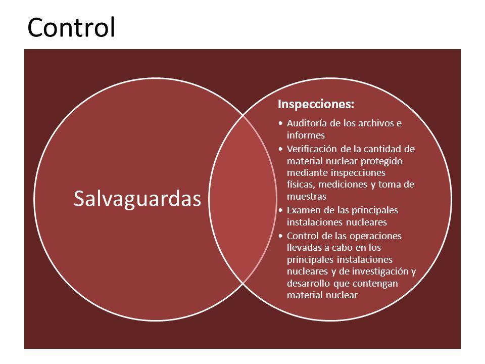Control Salvaguardas Inspecciones: Auditoría de los archivos e informes Verificación de la cantidad de material nuclear protegido mediante inspeccione