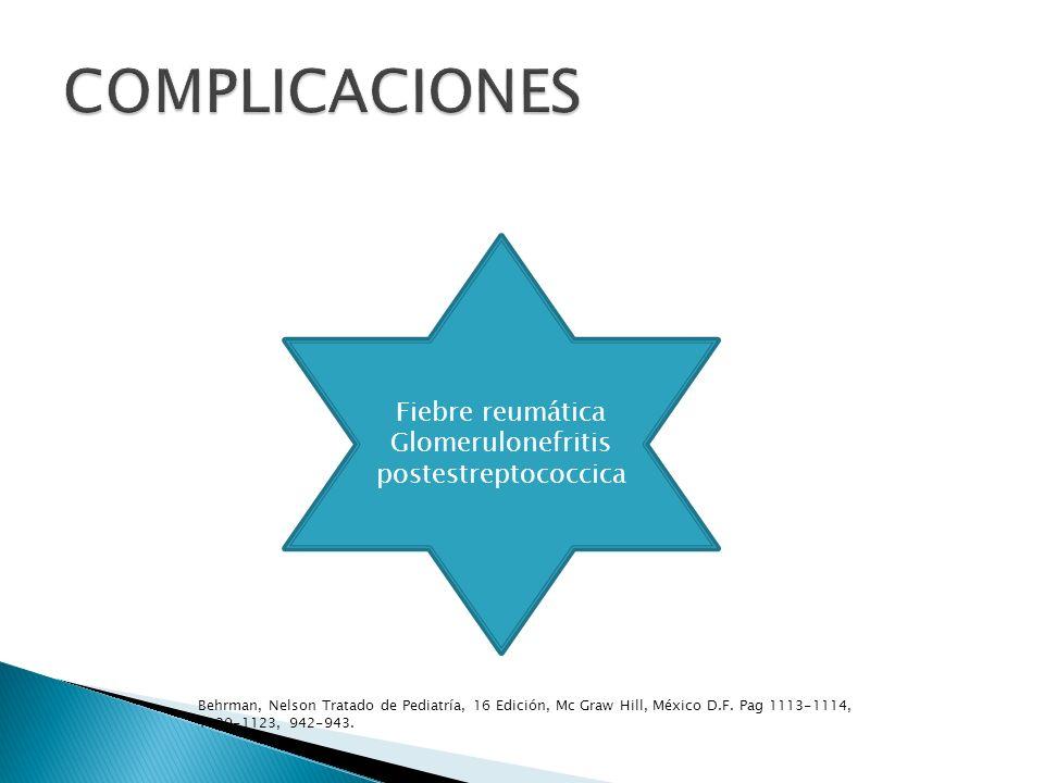 Tx Aliviar síntomas Prevenir complicaciones Penicilina 125-250mg/dosis/3 veces por día /10 días Bencilpenicilina benzatina 600,000 U< 27 kg 120,000,000 U >27 kg Eritromicina 40 mg kg 25 hrs Clindamicina 30 mg kg 24 hrs Behrman, Nelson Tratado de Pediatría, 16 Edición, Mc Graw Hill, México D.F.