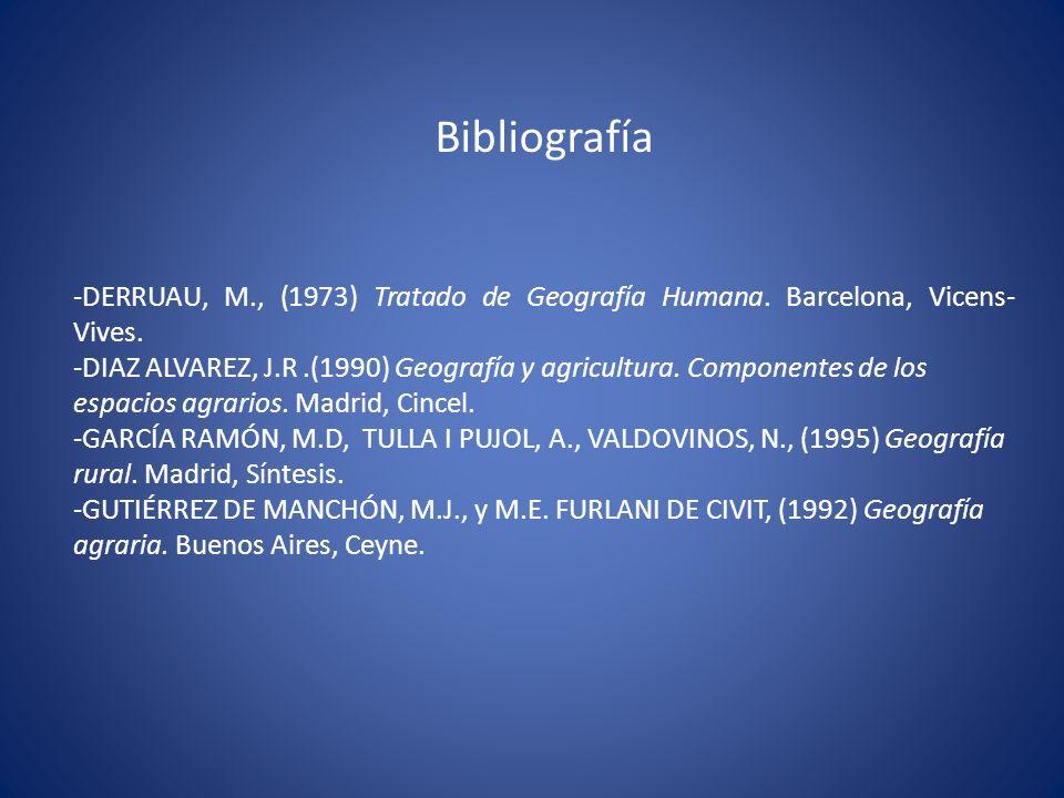 Bibliografía -DERRUAU, M., (1973) Tratado de Geografía Humana. Barcelona, Vicens- Vives. -DIAZ ALVAREZ, J.R.(1990) Geografía y agricultura. Componente