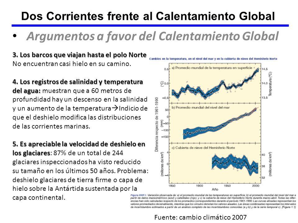 Dos Corrientes frente al Calentamiento Global Argumentos a favor del Calentamiento Global 3. Los barcos que viajan hasta el polo Norte 3. Los barcos q