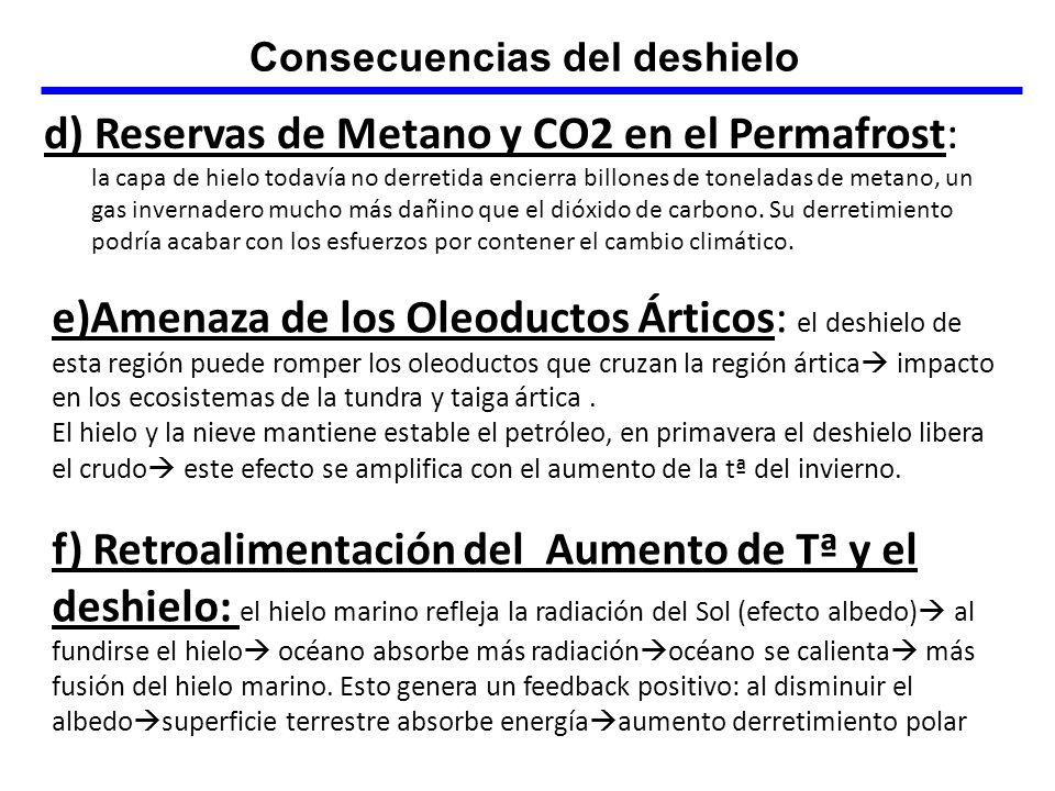 d) Reservas de Metano y CO2 en el Permafrost: la capa de hielo todavía no derretida encierra billones de toneladas de metano, un gas invernadero mucho