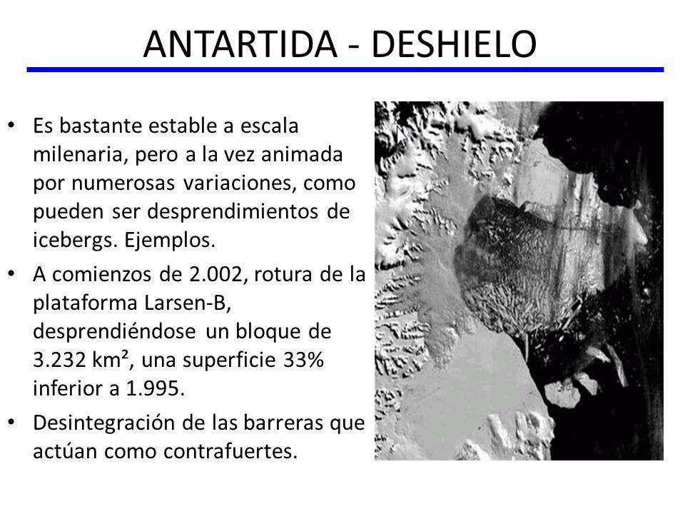 ANTARTIDA - DESHIELO Es bastante estable a escala milenaria, pero a la vez animada por numerosas variaciones, como pueden ser desprendimientos de iceb