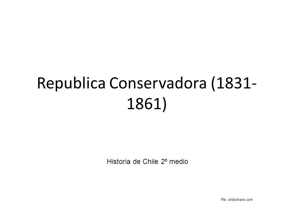 Republica Conservadora (1831- 1861) Historia de Chile 2º medio Fte: slideshare.com