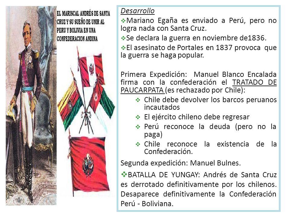 Desarrollo Mariano Egaña es enviado a Perú, pero no logra nada con Santa Cruz.
