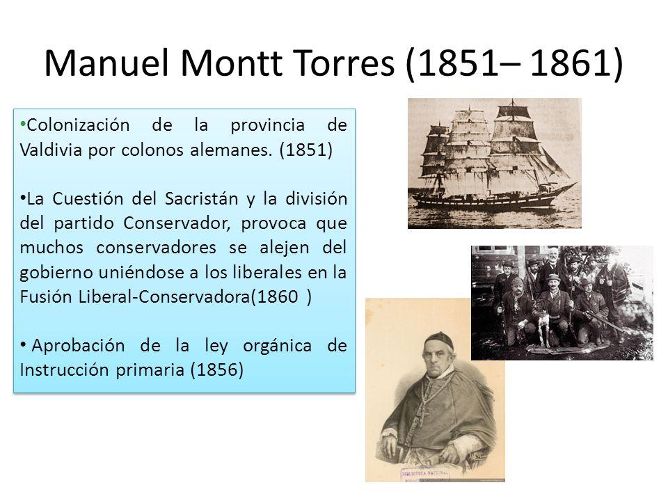 Manuel Montt Torres (1851– 1861) Colonización de la provincia de Valdivia por colonos alemanes.