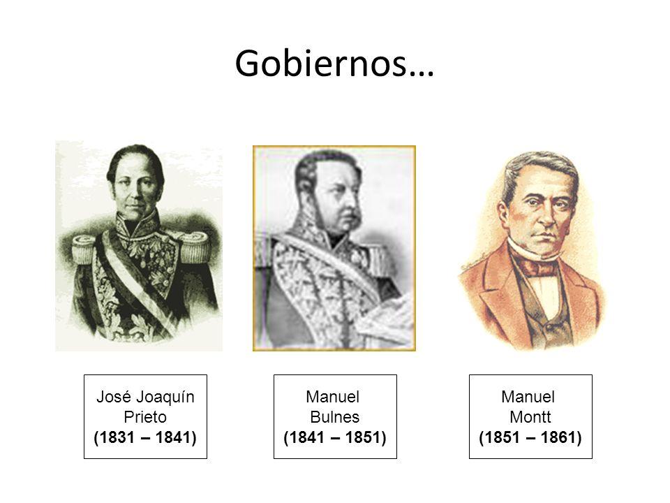 Manuel Bulnes (1841 – 1851) Manuel Montt (1851 – 1861) José Joaquín Prieto (1831 – 1841) Gobiernos…