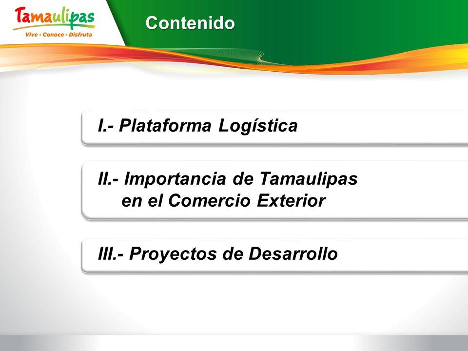 Contenido I.- Plataforma Logística II.- Importancia de Tamaulipas en el Comercio Exterior III.- Proyectos de Desarrollo