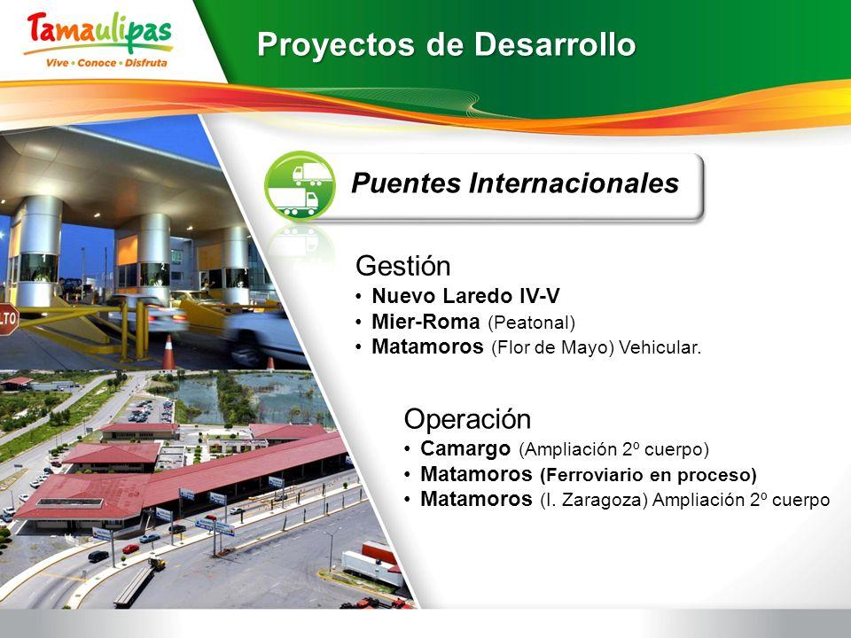 Proyectos de Desarrollo Puentes Internacionales Gestión Nuevo Laredo IV-V Mier-Roma (Peatonal) Matamoros (Flor de Mayo) Vehicular. Operación Camargo (