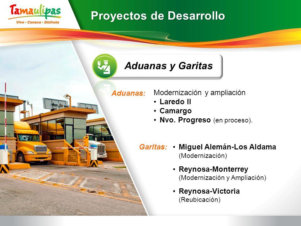 Miguel Alemán-Los Aldama (Modernización) Reynosa-Monterrey (Modernización y Ampliación) Reynosa-Victoria (Reubicación) Aduanas y Garitas Modernización