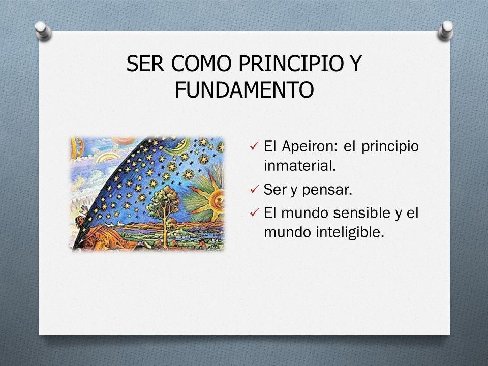 SER COMO PRINCIPIO Y FUNDAMENTO El Apeiron: el principio inmaterial.