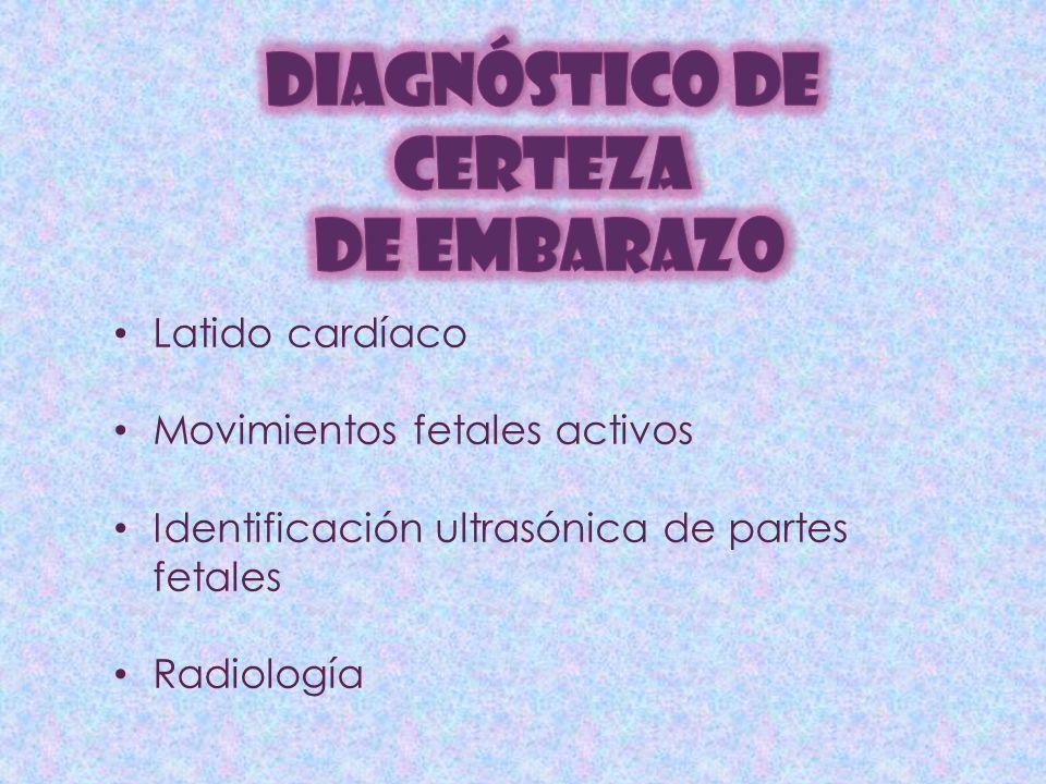 Latido cardíaco Movimientos fetales activos Identificación ultrasónica de partes fetales Radiología