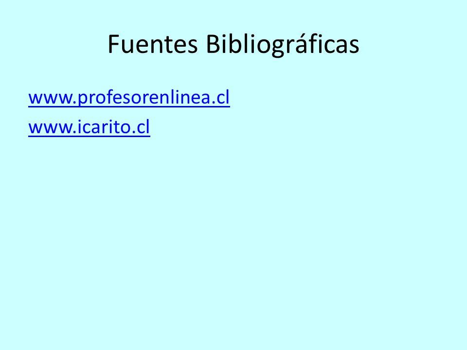 Fuentes Bibliográficas www.profesorenlinea.cl www.icarito.cl