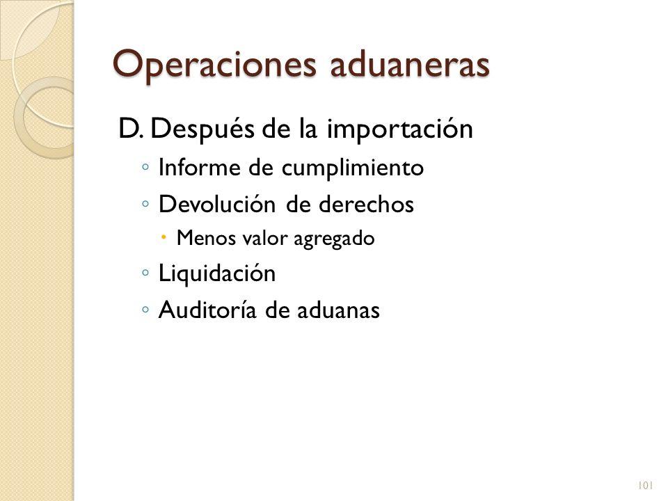 Operaciones aduaneras D. Después de la importación Informe de cumplimiento Devolución de derechos Menos valor agregado Liquidación Auditoría de aduana