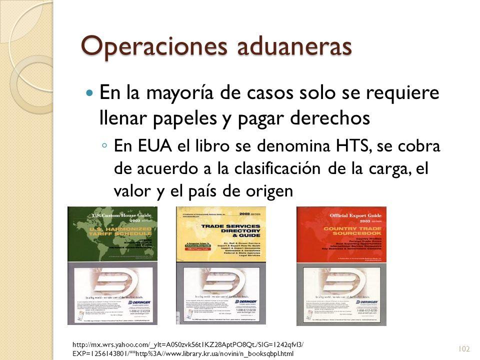 Operaciones aduaneras En la mayoría de casos solo se requiere llenar papeles y pagar derechos En EUA el libro se denomina HTS, se cobra de acuerdo a l