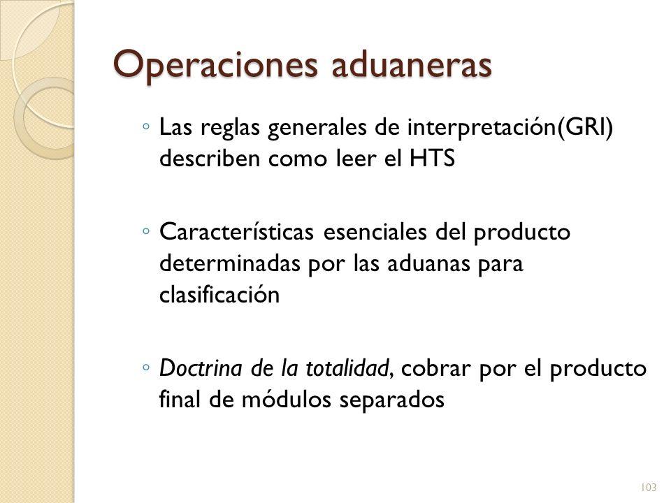 Operaciones aduaneras Las reglas generales de interpretación(GRI) describen como leer el HTS Características esenciales del producto determinadas por
