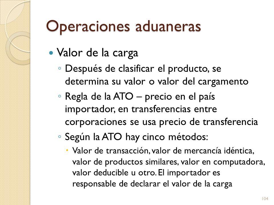 Operaciones aduaneras Valor de la carga Después de clasificar el producto, se determina su valor o valor del cargamento Regla de la ATO – precio en el