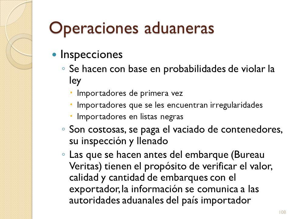 Operaciones aduaneras Inspecciones Se hacen con base en probabilidades de violar la ley Importadores de primera vez Importadores que se les encuentran