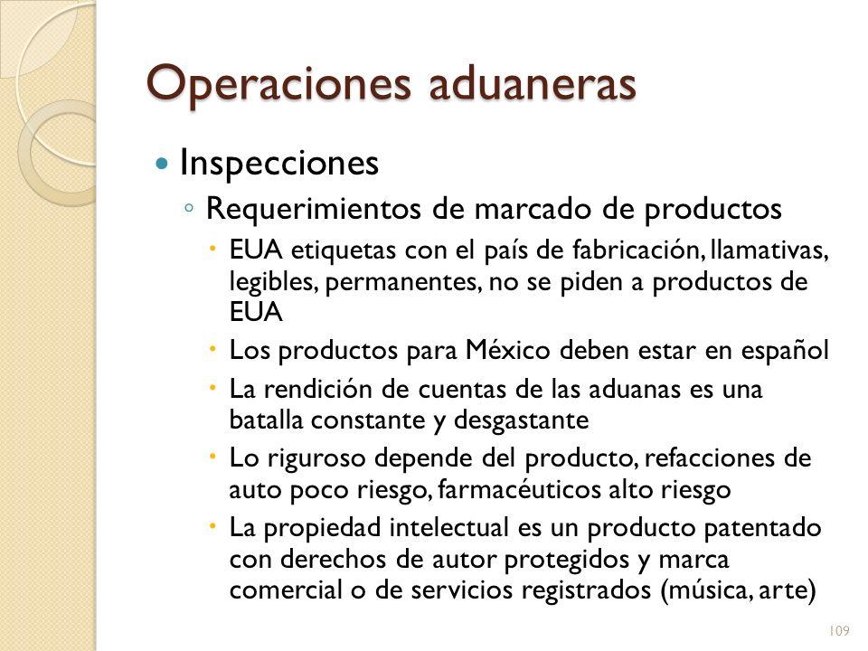 Operaciones aduaneras Inspecciones Requerimientos de marcado de productos EUA etiquetas con el país de fabricación, llamativas, legibles, permanentes,