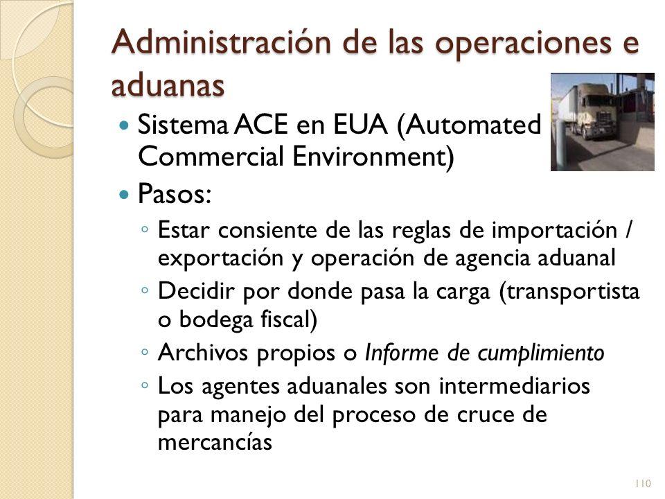 Administración de las operaciones e aduanas Sistema ACE en EUA (Automated Commercial Environment) Pasos: Estar consiente de las reglas de importación