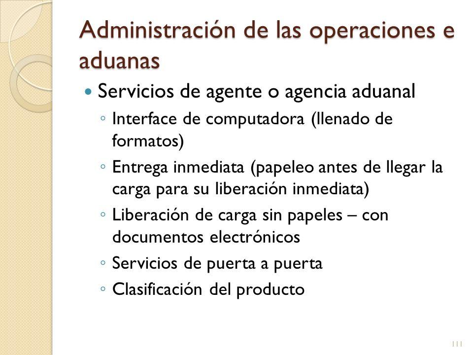 Administración de las operaciones e aduanas Servicios de agente o agencia aduanal Interface de computadora (llenado de formatos) Entrega inmediata (pa
