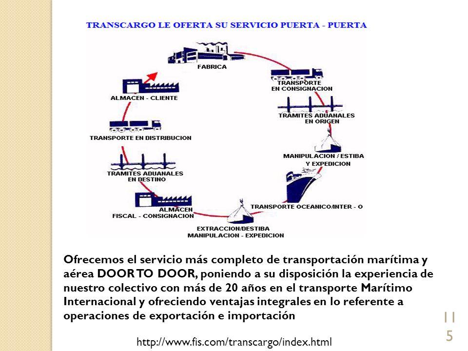 115 Ofrecemos el servicio más completo de transportación marítima y aérea DOOR TO DOOR, poniendo a su disposición la experiencia de nuestro colectivo