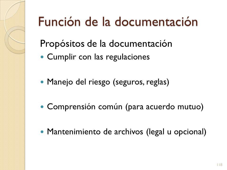 Función de la documentación Propósitos de la documentación Cumplir con las regulaciones Manejo del riesgo (seguros, reglas) Comprensión común (para ac
