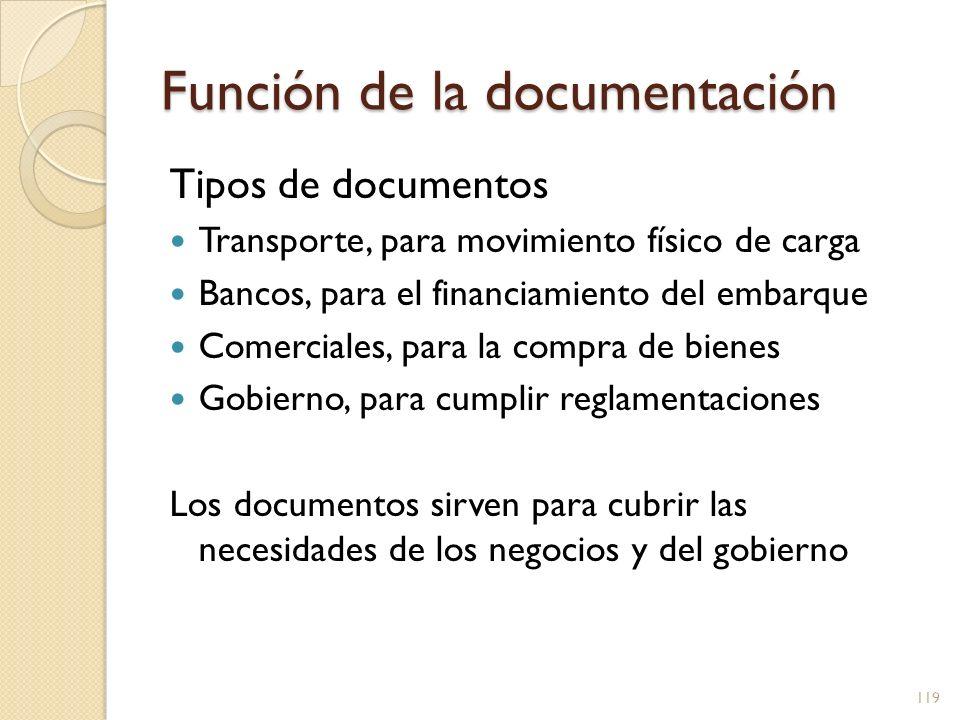Función de la documentación Tipos de documentos Transporte, para movimiento físico de carga Bancos, para el financiamiento del embarque Comerciales, p