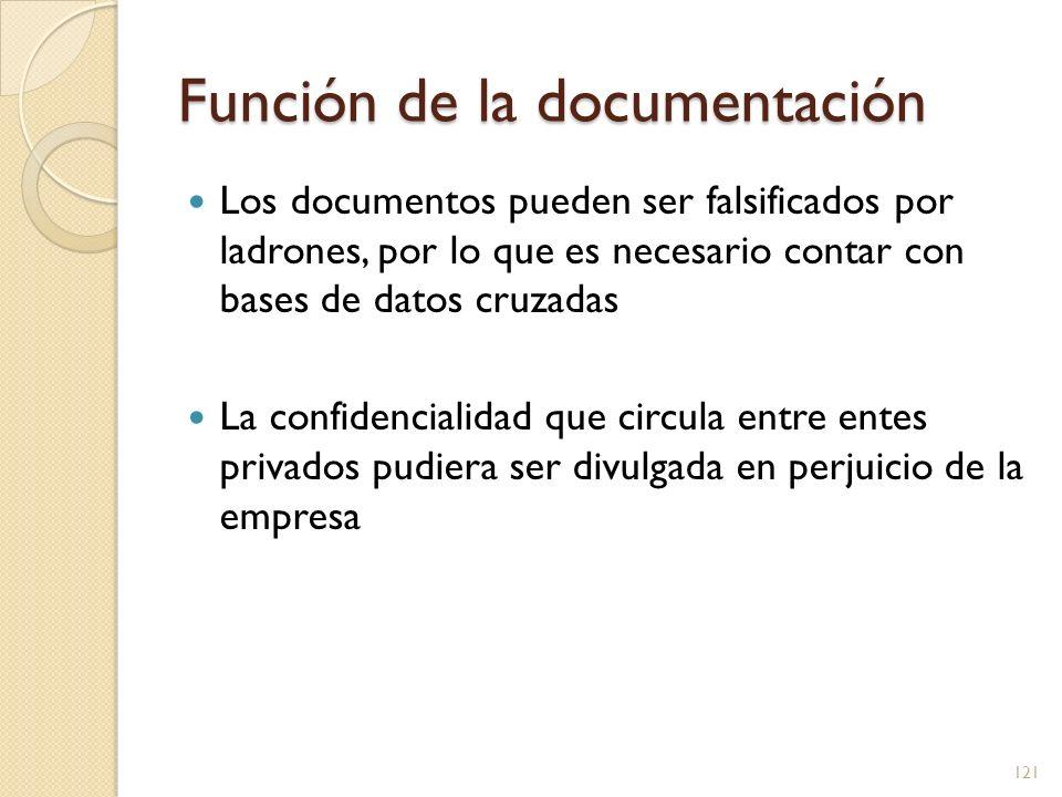 Función de la documentación Los documentos pueden ser falsificados por ladrones, por lo que es necesario contar con bases de datos cruzadas La confide