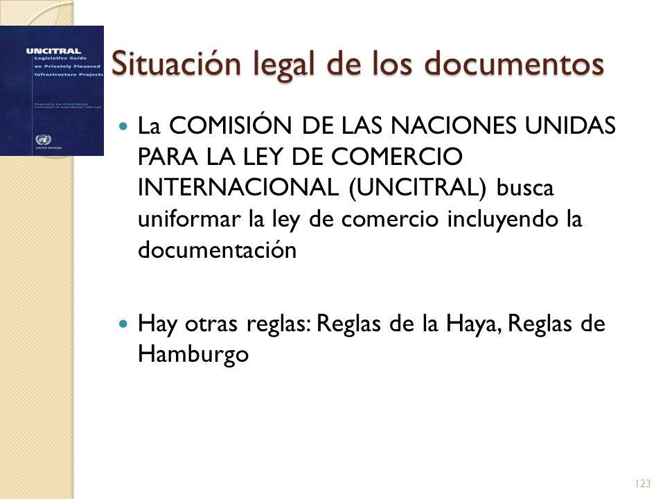 Situación legal de los documentos La COMISIÓN DE LAS NACIONES UNIDAS PARA LA LEY DE COMERCIO INTERNACIONAL (UNCITRAL) busca uniformar la ley de comerc