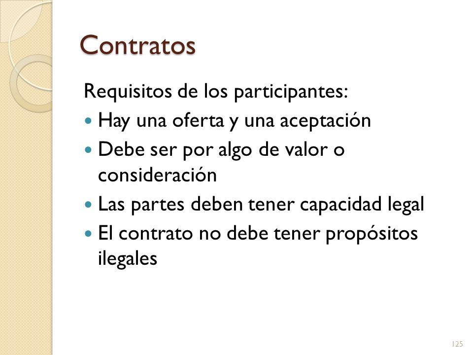 Contratos Requisitos de los participantes: Hay una oferta y una aceptación Debe ser por algo de valor o consideración Las partes deben tener capacidad