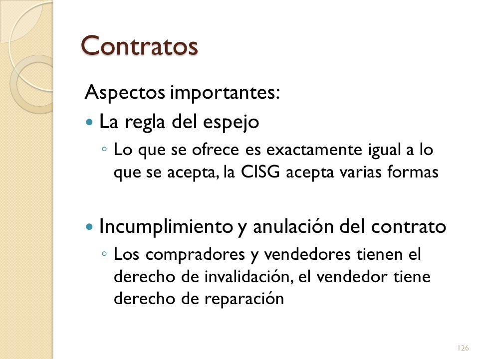 Contratos Aspectos importantes: La regla del espejo Lo que se ofrece es exactamente igual a lo que se acepta, la CISG acepta varias formas Incumplimie