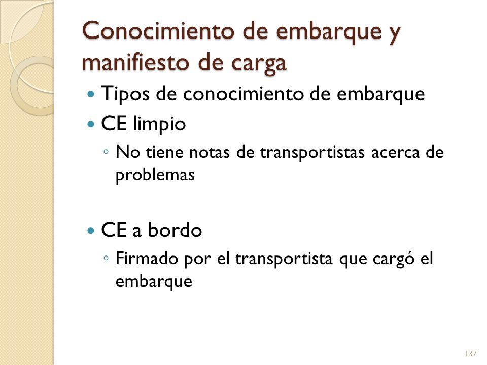 Conocimiento de embarque y manifiesto de carga Tipos de conocimiento de embarque CE limpio No tiene notas de transportistas acerca de problemas CE a b