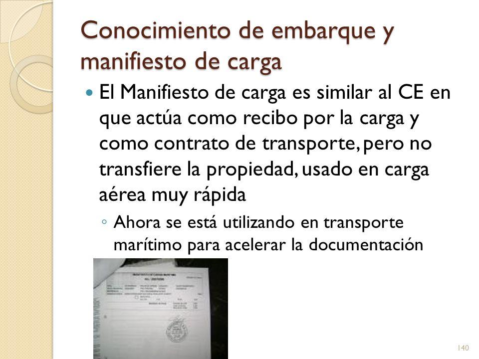 Conocimiento de embarque y manifiesto de carga El Manifiesto de carga es similar al CE en que actúa como recibo por la carga y como contrato de transp