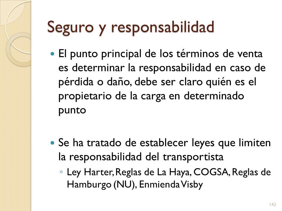 Seguro y responsabilidad El punto principal de los términos de venta es determinar la responsabilidad en caso de pérdida o daño, debe ser claro quién