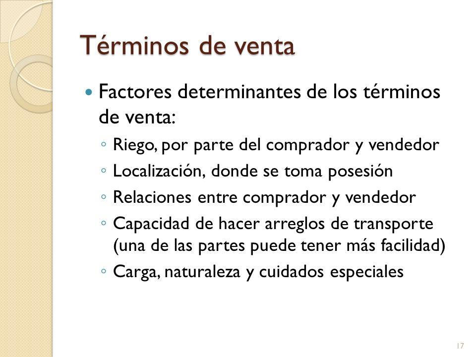 Términos de venta Factores determinantes de los términos de venta: Riego, por parte del comprador y vendedor Localización, donde se toma posesión Rela