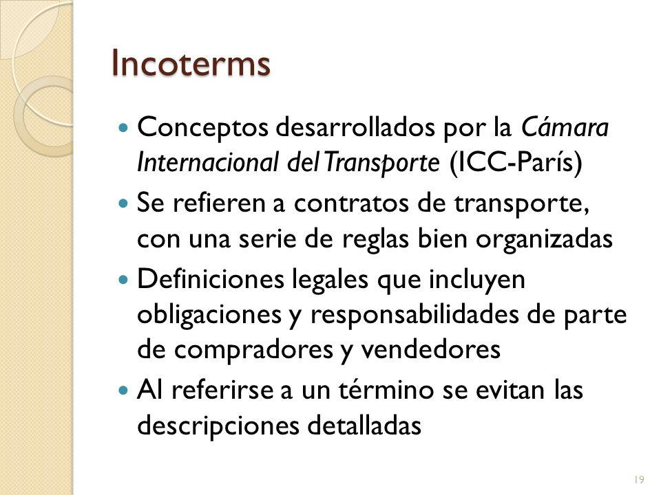 Incoterms Conceptos desarrollados por la Cámara Internacional del Transporte (ICC-París) Se refieren a contratos de transporte, con una serie de regla