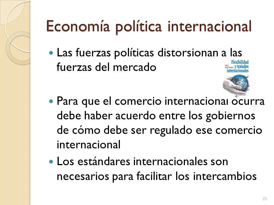 Economía política internacional Las fuerzas políticas distorsionan a las fuerzas del mercado Para que el comercio internacional ocurra debe haber acue