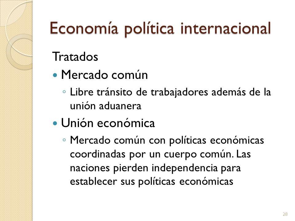 Economía política internacional Tratados Mercado común Libre tránsito de trabajadores además de la unión aduanera Unión económica Mercado común con po