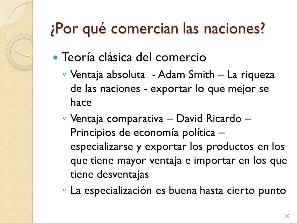 ¿Por qué comercian las naciones? Teoría clásica del comercio Ventaja absoluta - Adam Smith – La riqueza de las naciones - exportar lo que mejor se hac