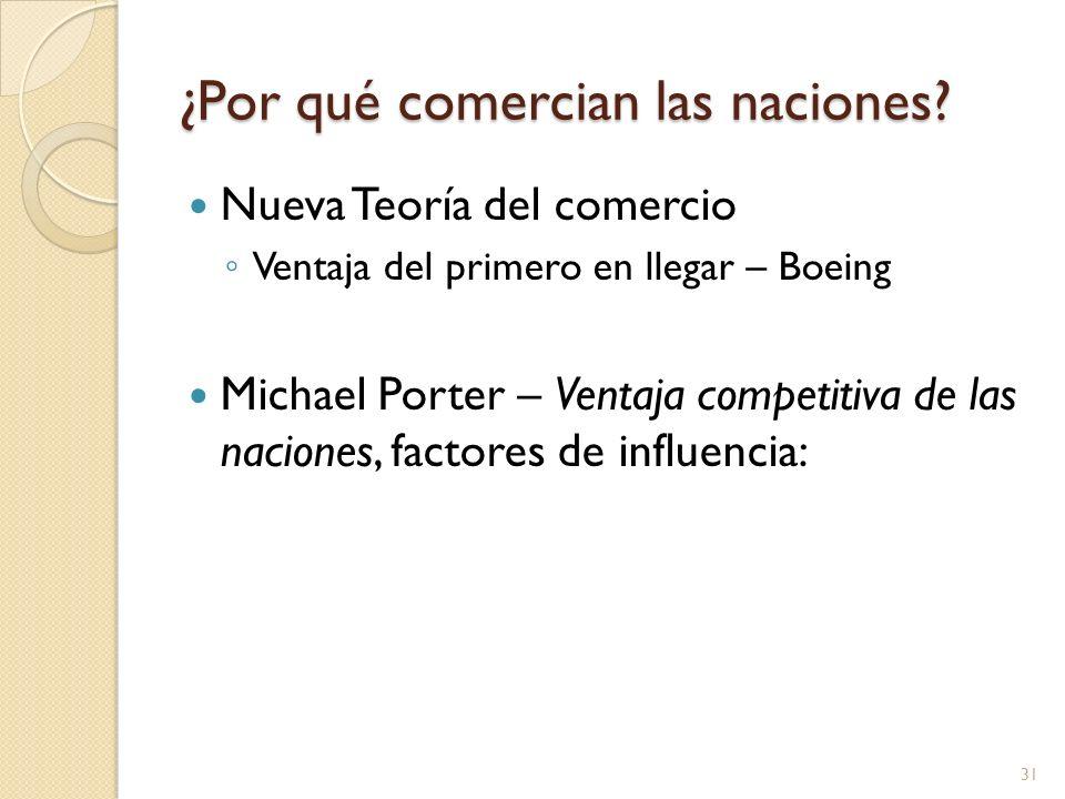 ¿Por qué comercian las naciones? Nueva Teoría del comercio Ventaja del primero en llegar – Boeing Michael Porter – Ventaja competitiva de las naciones