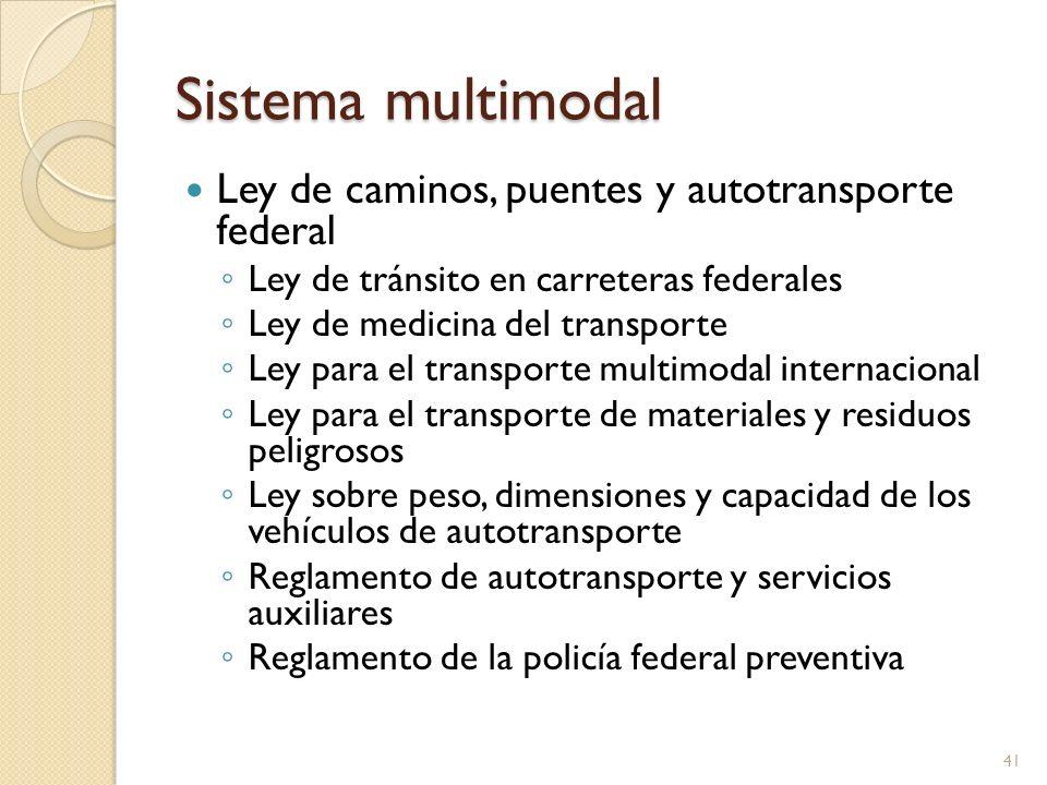 Sistema multimodal Ley de caminos, puentes y autotransporte federal Ley de tránsito en carreteras federales Ley de medicina del transporte Ley para el
