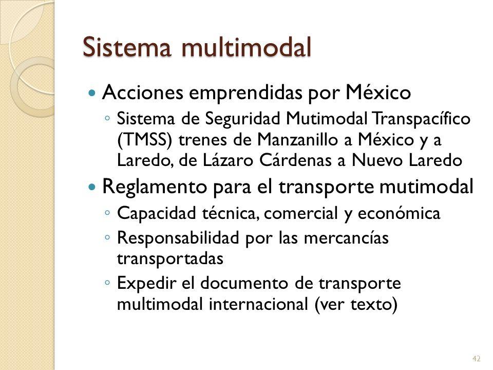 Sistema multimodal Acciones emprendidas por México Sistema de Seguridad Mutimodal Transpacífico (TMSS) trenes de Manzanillo a México y a Laredo, de Lá