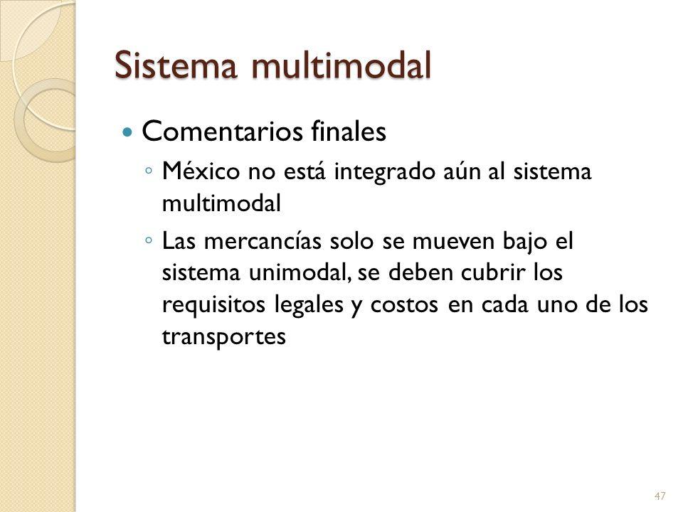 Sistema multimodal Comentarios finales México no está integrado aún al sistema multimodal Las mercancías solo se mueven bajo el sistema unimodal, se d
