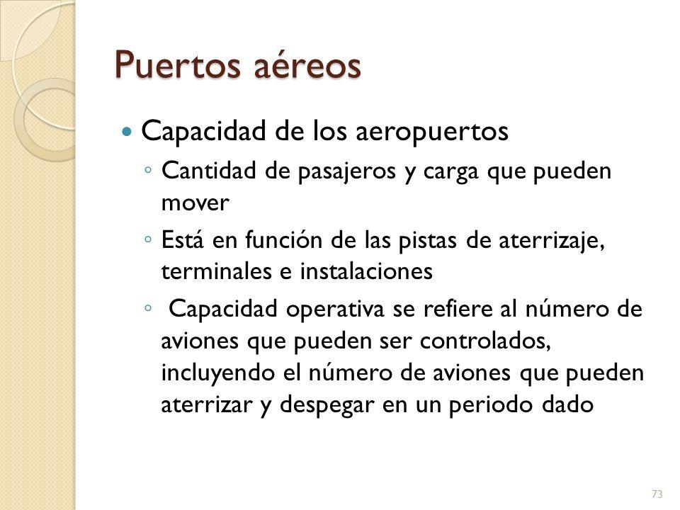Puertos aéreos Capacidad de los aeropuertos Cantidad de pasajeros y carga que pueden mover Está en función de las pistas de aterrizaje, terminales e i
