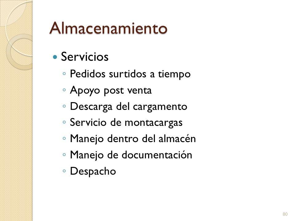 Almacenamiento Servicios Pedidos surtidos a tiempo Apoyo post venta Descarga del cargamento Servicio de montacargas Manejo dentro del almacén Manejo d