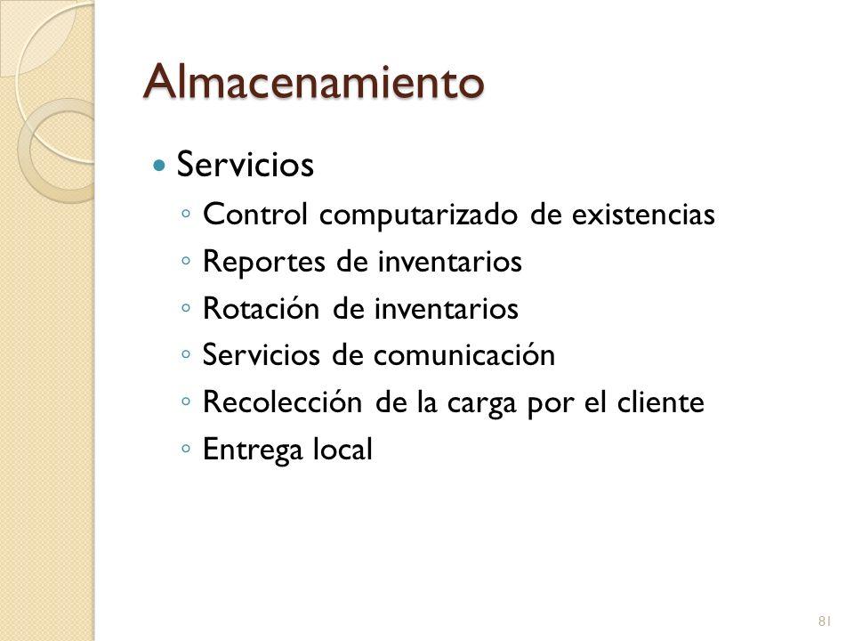 Almacenamiento Servicios Control computarizado de existencias Reportes de inventarios Rotación de inventarios Servicios de comunicación Recolección de