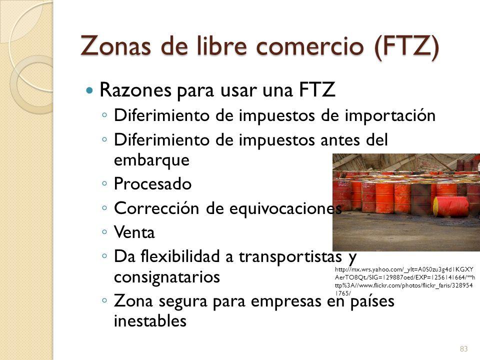 Zonas de libre comercio (FTZ) Razones para usar una FTZ Diferimiento de impuestos de importación Diferimiento de impuestos antes del embarque Procesad