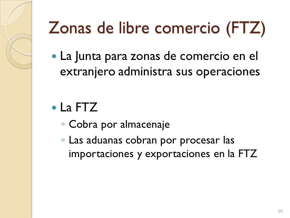 Zonas de libre comercio (FTZ) La Junta para zonas de comercio en el extranjero administra sus operaciones La FTZ Cobra por almacenaje Las aduanas cobr