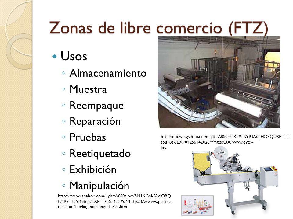 Zonas de libre comercio (FTZ) Usos Almacenamiento Muestra Reempaque Reparación Pruebas Reetiquetado Exhibición Manipulación 85 http://mx.wrs.yahoo.com